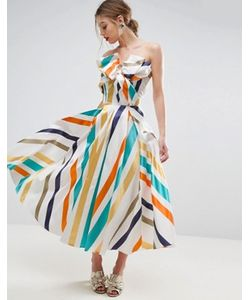 Asos | Платье Миди Для Выпускного В Полоску С Бантом Salon