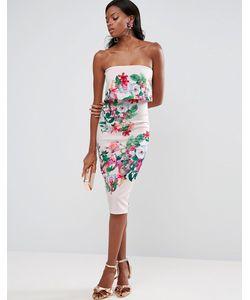 Asos | Платье Миди С Лифом-Бандо И Цветочным Принтом