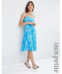 ASOS PETITE | Плиссированное Платье Миди С Цветочным Принтом