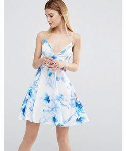 AX Paris | Короткое Приталенное Платье На Бретельках С Цветочным Принтом
