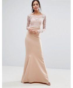 City Goddess | Платье Макси С Кружевным Топом И Бантом Сзади