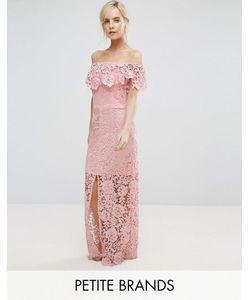 Paper Dolls Petite | Кружевное Платье Макси С Открытыми Плечами И Рюшами
