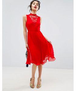 Asos | Платье Миди Без Рукавов С Кружевной Вставкой