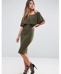 Asos | Платье Миди Из Крепа С Вырезом Лодочкой И Оборками