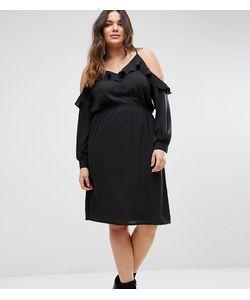 Boohoo Plus | Платье С Открытыми Плечами И Оборками