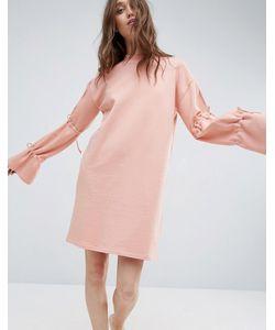 Asos   Трикотажное Платье С Завязками На Рукавах