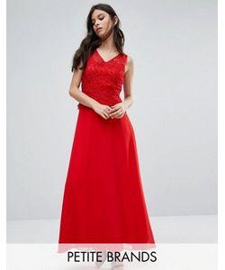 Yumi Petite | Платье Макси С Кружевной Накладкой