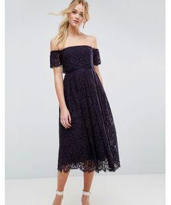Asos | Платье Миди На Выпускной С Открытыми Плечами И Кружевными Вставками