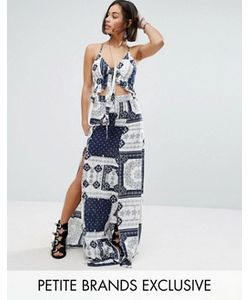 Sisters of the Tribe | Petite Printed Tie Front Maxi Dress With