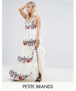 Glamorous Petite | Платье Макси С Цветочной Вышивкой