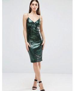 Club L | Платье Миди На Бретельках С Пайетками