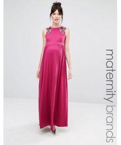Little Mistress Maternity | Платье Макси Без Рукавов Для Беременных С Цветочной Отделкой На Плечах