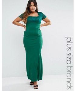 Goddiva plus | Платье Макси С Кружевными Рукавами