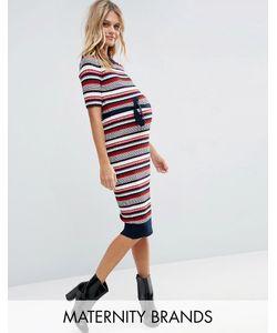 Mama Licious | Полосатое Платье Миди Для Беременных Mamalicious Rebekah