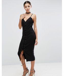Asos | Платье Миди Со Шнуровкой Спереди
