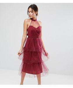 True Violet   Ярусное Платье Миди Из Тюля