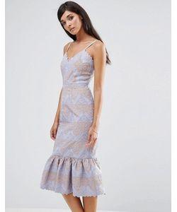 aijek | Кружевное Платье С Баской По Низу