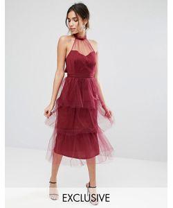 True Violet | Ярусное Платье Миди Из Тюля