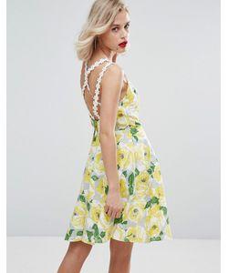 Horrockses   Короткое Приталенное Платье Из Желтого Хлопка С Цветочным Принтом