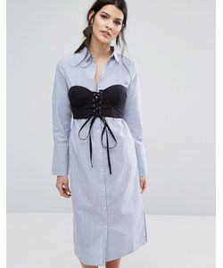 Neon Rose | Платье-Рубашка В Полоску С Контрастным Топом