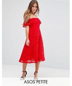 ASOS PETITE | Кружевное Платье Миди С Открытыми Плечами