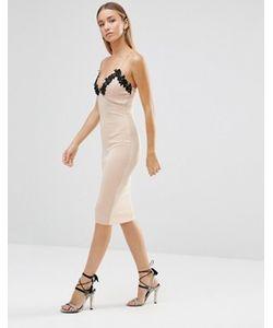 AX Paris | Облегающее Платье Миди С Отделкой Кроше И Глубоким Вырезом