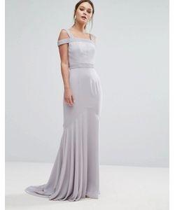 JARLO | Платье Макси С Лифом-Бандо И Ассиметричным Краем