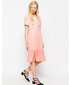 Style London | Платье-Рубашка Миди С Полупрозрачными Вставками