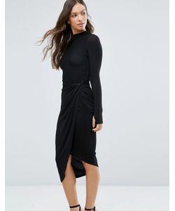 Wal G | Асимметричное Платье С Высоким Воротом