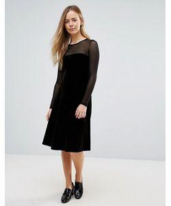 Ganni | Велюровое Платье-Трапеция Миди С Прозрачными Вставками Campbell
