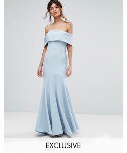 JARLO | Платье Макси С Лифом-Бандо И Асимметричным Краем