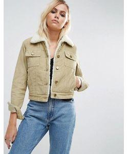 Asos | Укороченная Вельветовая Куртка Песочного Цвета С Воротником И Подкладкой Из Искусственного