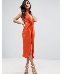 Asos | Платье Миди С Перекрученной Отделкой