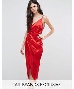 NaaNaa Tall | Атласное Асимметричное Платье Миди