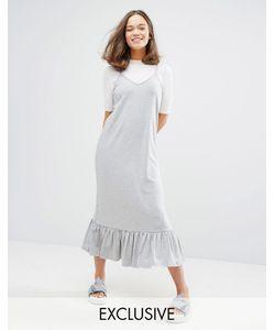 Monki | Эксклюзивное Платье Миди С Рюшами По Краю