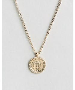 Chained & Able | Золотистое Ожерелье С Медальоном Old English