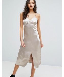Glamorous | Атласное Платье Миди На Тонких Бретельках