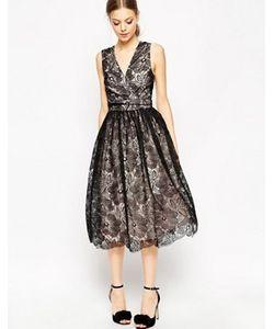 Asos | Платье Миди Для Выпускного С Контрастным Кружевом Premium