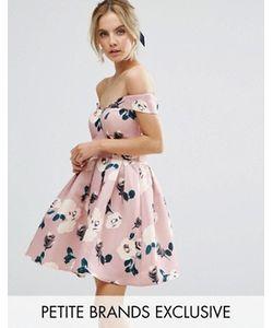 Chi Chi Petite   Платье Для Выпускного В Цветочек С Широким Вырезом