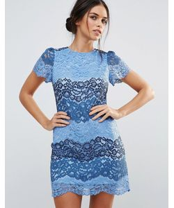 Amy Lynn | Кружевное Платье Колор Блок С Короткими Рукавами