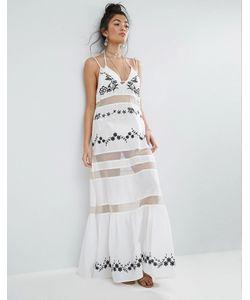 Asos | Пляжное Платье Макси С Оборкой На Подоле И Вышивкой