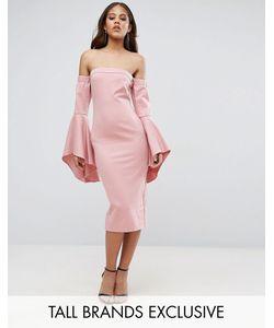 Taller Than Your Average | Платье Миди С Открытыми Плечами И Рукавами Клеш Ttya