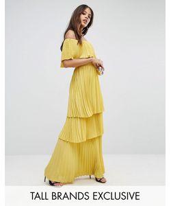 Taller Than Your Average | Плиссированное Платье Макси С Открытыми Плечами И Оборками Ttya