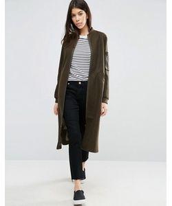Asos | Пальто С Добавлением Шерсти И Отделкой В Стиле Куртки-Пилот