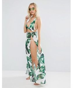 Jaded London | Leaf Print Maxi Beach Kaftan