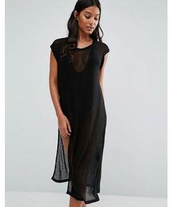 EVIL TWIN | Пляжное Сетчатое Платье Миди С Высокими Разрезами