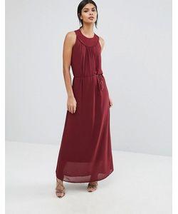 Sisley | Платье Макси С Плетеной Отделкой На Горловине