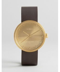 LEFF AMSTERDAM | Золотистые Часы С Коричневым Кожаным Ремешком D-Series 38 Мм