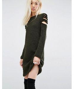 Oneon | Платье-Джемпер Ручной Вязки С Вырезами На Плечах