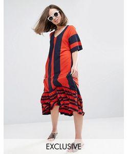 Monki   Платье В Полоску С V-Образным Вырезом И Оборкой По Краю